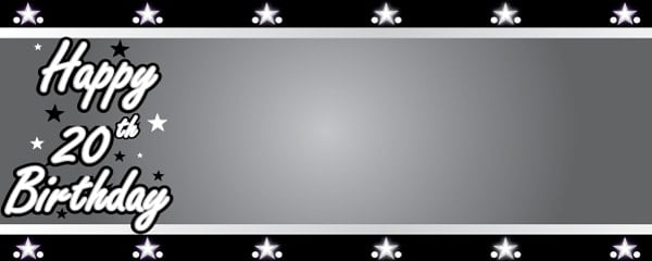 Happy 20th Birthday Silver Stars Design Small Personalised Banner - 4ft x 2ft