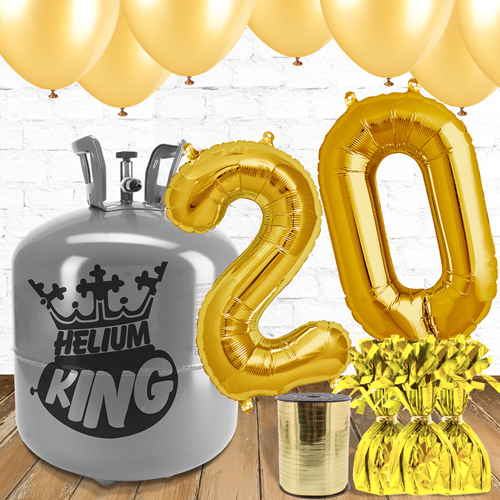 20th Birthday Helium Gas Package with Gold Balloons