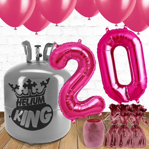 20th Birthday Helium Gas Package With Pink Balloons