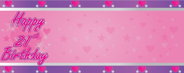 Happy 21st Birthday Faded Hearts Design Small Personalised Banner- 4ft x 2ft