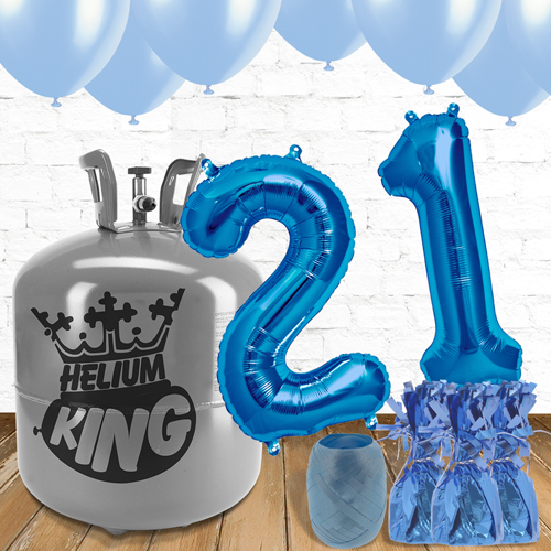 21st Birthday Blue Balloons And Helium Gas Package