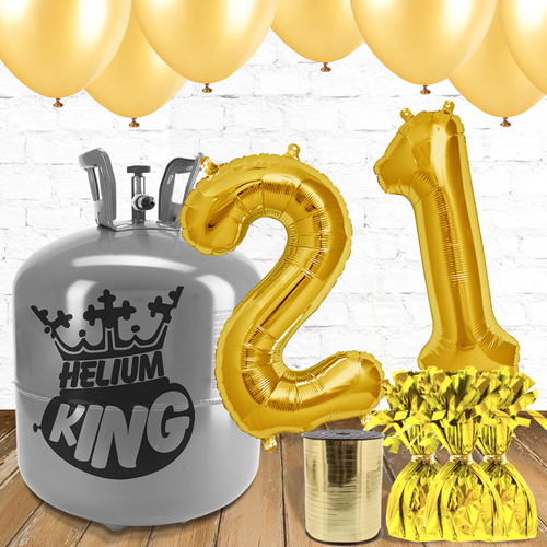 21st Birthday Helium Gas Package with Gold Balloons