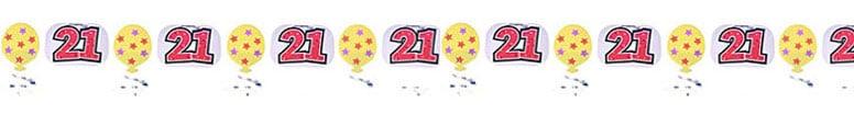 21st Birthday Foil Garland - 10 Ft / 305cm