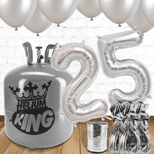 25th Birthday Silver Balloons And Helium Gas Package