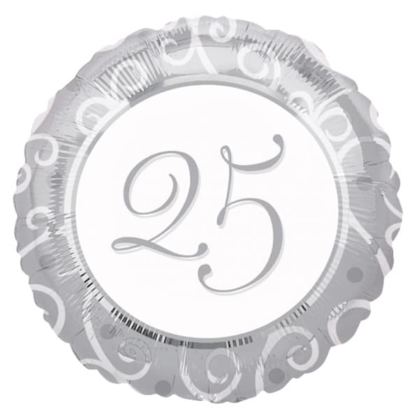 25th Silver Anniversary Round Foil Balloon - 18 Inches / 46 cm