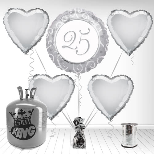25th Silver Anniversary Foil Balloon and Helium Gas Package Product Image