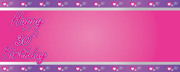 Happy 30th Birthday Pink and Purple Hearts Design Medium Personalised Banner - 6ft x 2.25ft