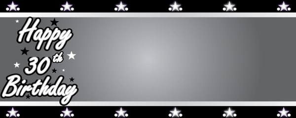 Happy 30th Birthday Silver Stars Design Small Personalised Banner- 4ft x 2ft