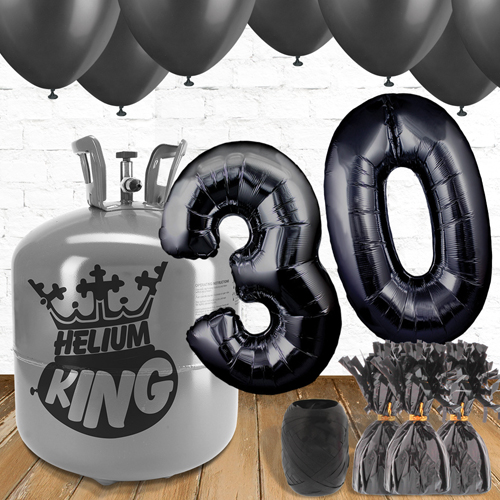 30th Birthday Black Balloons And Helium Gas Package