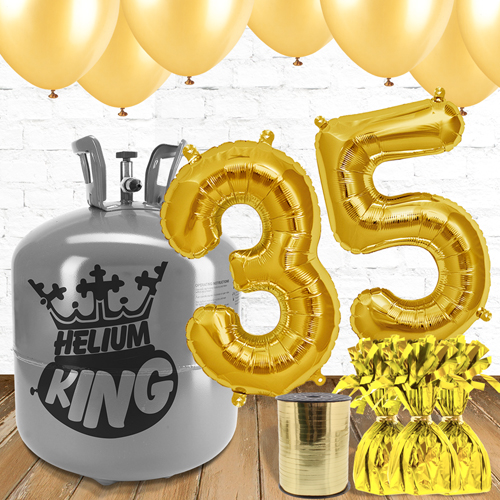 35th Birthday Helium Gas Package with Gold Balloons