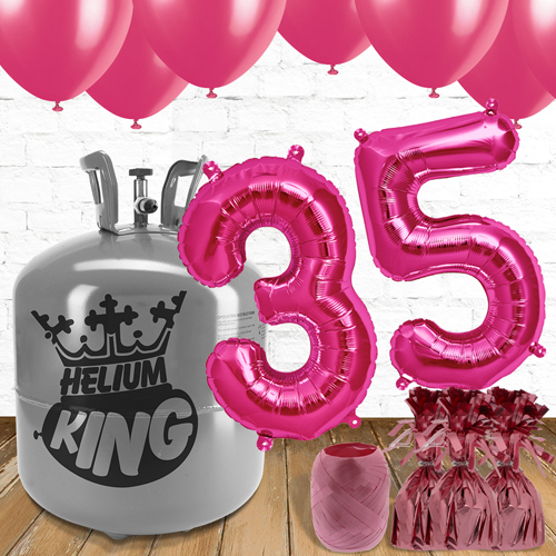 35th Birthday Pink Balloons And Helium Gas Package