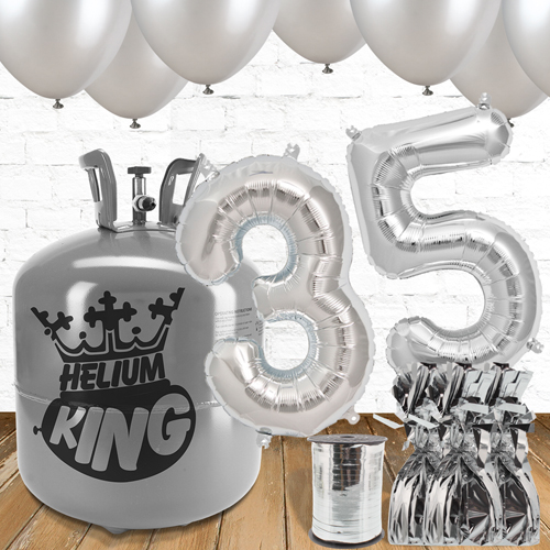 35th Birthday Silver Balloons And Helium Gas Package