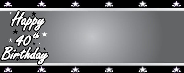 Happy 40th Birthday Silver Stars Design Large Personalised Banner - 10ft x 4ft