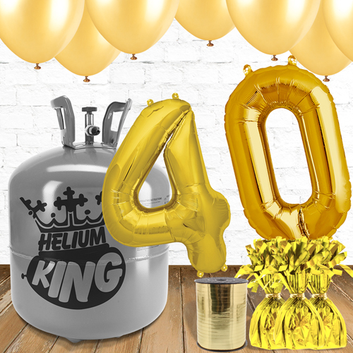 40th Birthday Helium Gas Package with Gold Balloons