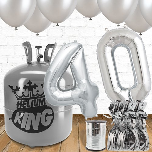 40th Birthday Silver Balloons And Helium Gas Package