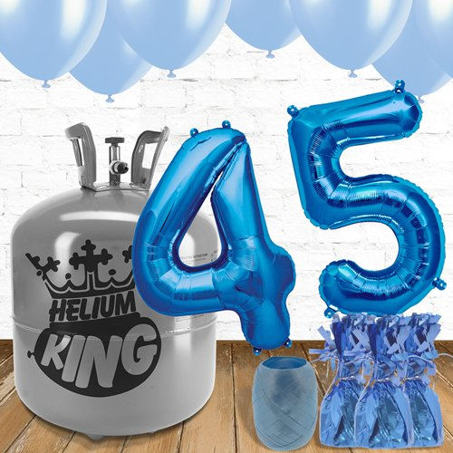 45th Birthday Blue Balloons And Helium Gas Package