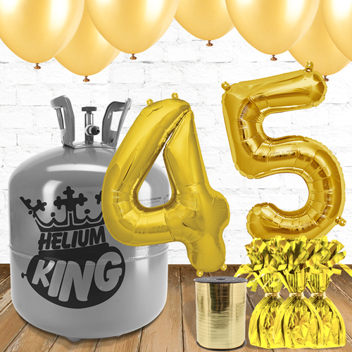 45th Birthday Gold Balloons And Helium Gas Package
