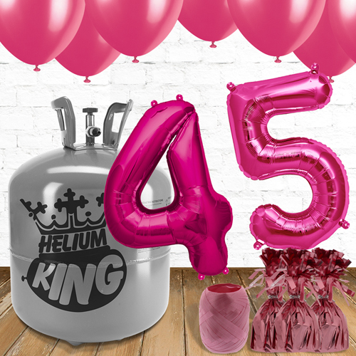 45th Birthday Pink Balloons And Helium Gas Package