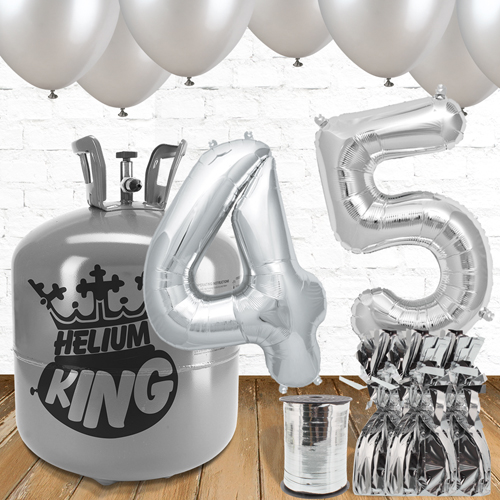 45th Birthday Silver Balloons And Helium Gas Package