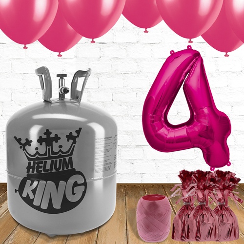 4th Birthday Helium Gas Package with Pink Balloons