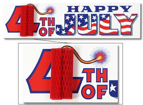 4th July Sign with Honeycomb Fire Cracker - 31 Inches / 80cm