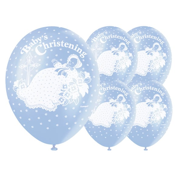 Christening Blue Biodegradable Latex Balloons - 12 Inches / 30cm - Pack of 5