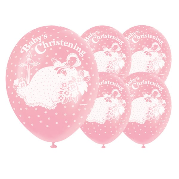 Christening Pink Biodegradable Latex Balloons - 12 Inches / 30cm - Pack of 5