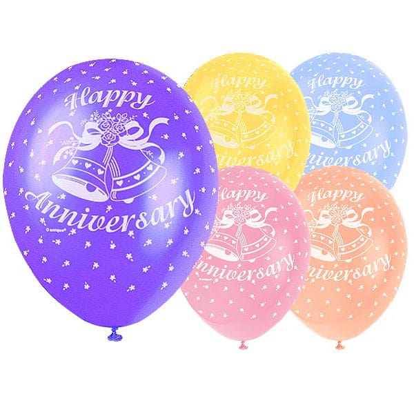 Happy Anniversary Biodegradable Latex Balloons - 12 Inches / 30cm - Pack of 5