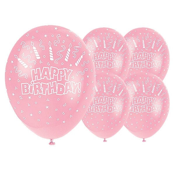5 Happy Birthday Candles 12 Inch Pink Latex