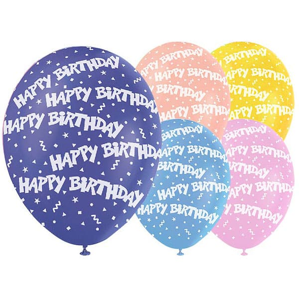 Happy Birthday Confetti Assorted Colour Biodegradable Latex Balloons - 12 Inches / 30cm - Pack of 5