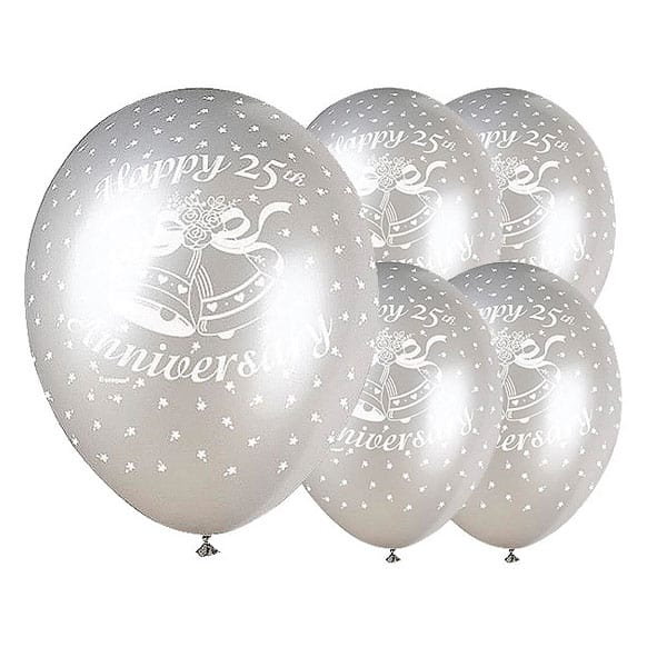 Happy Silver Anniversary Biodegradable Latex Balloons - 12 Inches / 30cm - Pack of 5