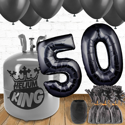 50th Birthday Black Balloons And Helium Gas Package