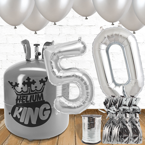 50th Birthday Silver Balloons And Helium Gas Package