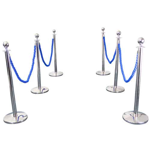 6 Prestige Chrome Poles With 4 Blue Braided Ropes Product Gallery Image