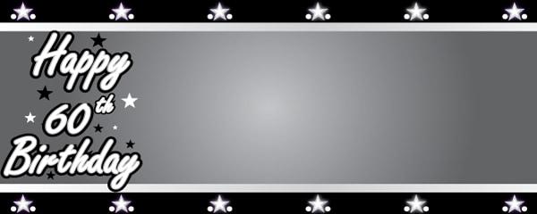 Happy 60th Birthday Silver Stars Design Medium Personalised Banner - 6ft x 2.25ft