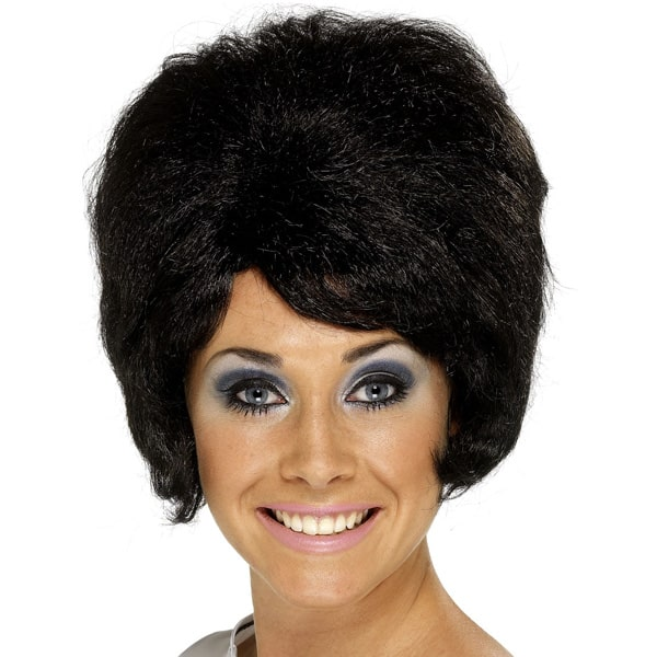 Black 60's Beehive Ladies Short Wig