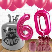 60th Birthday Helium Gas Package with Pink Balloons