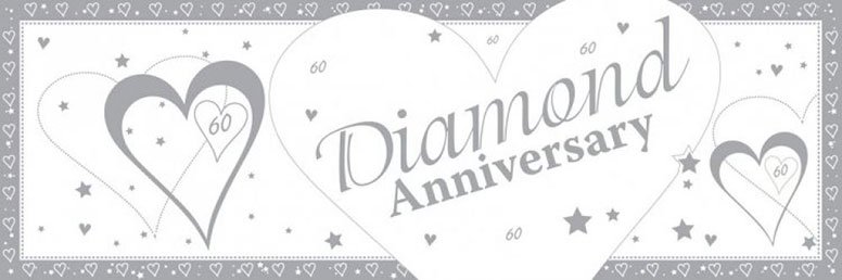 60th Diamond Anniversary Giant Plastic Banner - 60 x 20 Inches / 153 x 51cm
