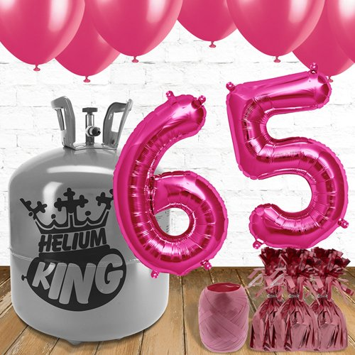 65th Birthday Pink Balloons And Helium Gas Package