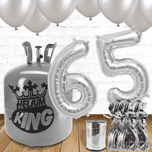 65th Birthday Silver Balloons And Helium Gas Package