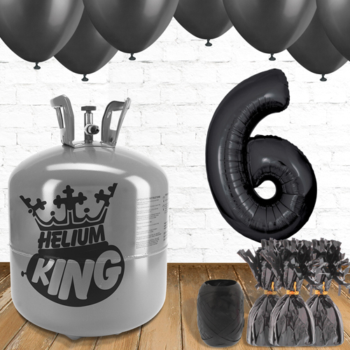 6th Birthday Helium Gas Package with Black Balloons Product Image