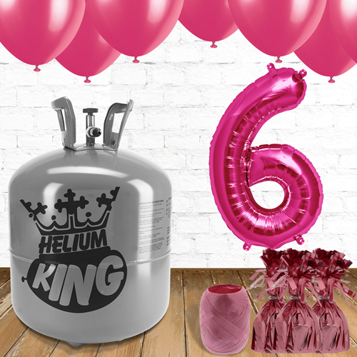 6th Birthday Helium Gas Package with Pink Balloons