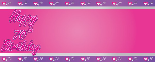 Happy 70th Birthday Pink and Purple Hearts Design Small Personalised Banner - 4ft x 2ft