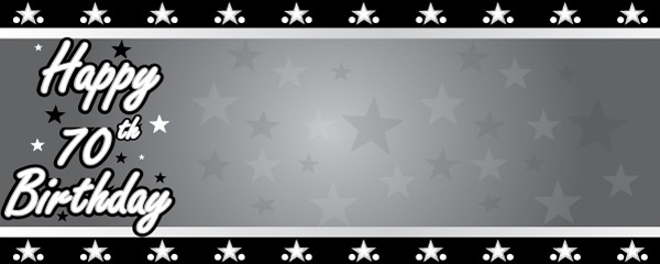 Happy 70th Birthday Faded Stars Design Medium Personalised Banner - 6ft x 2.25ft