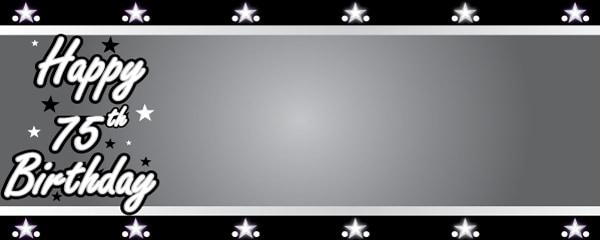 Happy 75th Birthday Silver Stars Design Medium Personalised Banner - 6ft x 2.25ft