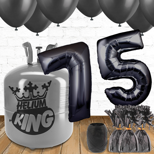 75th Birthday Black Balloons And Helium Gas Package