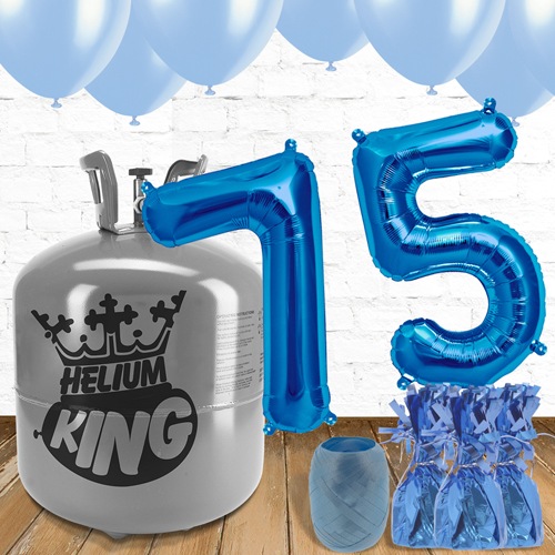 75th Birthday Blue Balloons And Helium Gas Package