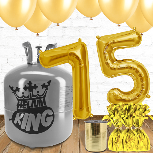 75th Birthday Gold Balloons And Helium Gas Package