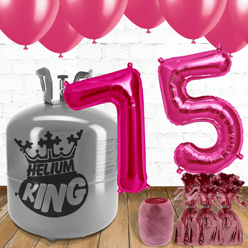 75th Birthday Pink Balloons And Helium Gas Package