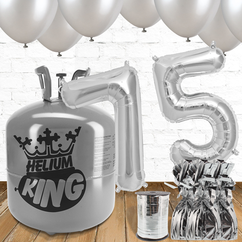 75th Birthday Silver Balloons And Helium Gas Package